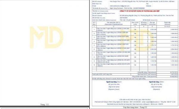 Lỗi phân trang PDF hóa đơn AZ-Invoice