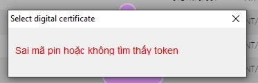 Lỗi sai mã pin hoặc không tìm thấy token